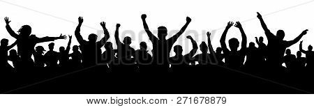Cheerful People Having Fun Celebrating. Cheers Joy Of Victory. Group Of Friends, Youth. Crowd Of Fun