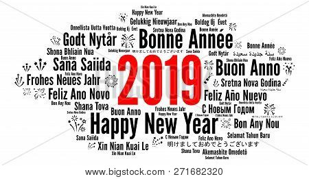 Happy New Year 2019 In Different Languages Illustration