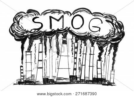 Black brush and ink artistic rough hand drawing of smoke coming from industry or factory smokestacks or chimneys into air. Environmental concept of air pollution or smog. poster