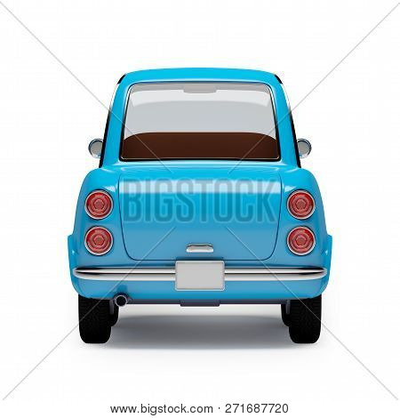 Retro Car Blue In 60s Style, Back View, Isolated On A White Background. 3d Illustration.