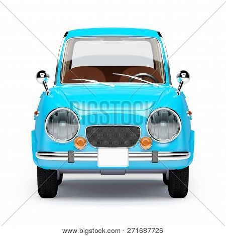 Retro Car Blue In 60s Style, Front View, Isolated On A White Background. 3d Illustration.