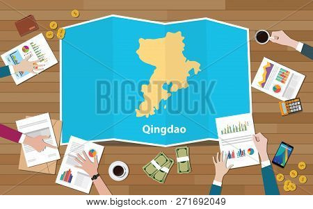 Qingdao Shandong Province China City Region Economy Growth With Team Discuss On Fold Maps View From