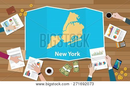 New York City Usa America United States Region Economy Growth With Team Discuss On Fold Maps View Fr