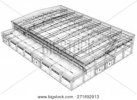 Warehouse Sketch. Blueprint Or Wire-frame Style. 3d Illustration