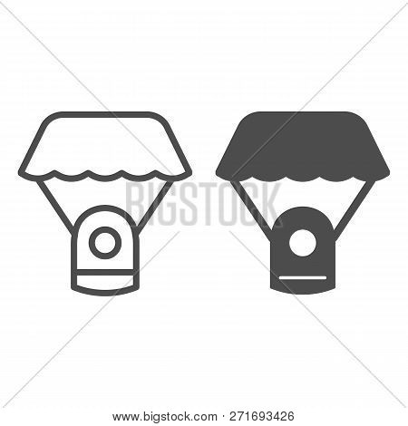 Capsule Parachute Line And Glyph Icon. Space Parachute Vector Illustration Isolated On White. Astrop