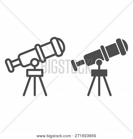 Telescope Line And Glyph Icon. Spyglass Vector Illustration Isolated On White. Ocular Outline Style