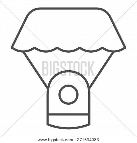 Capsule Parachute Thin Line Icon. Space Parachute Vector Illustration Isolated On White. Astrophysic
