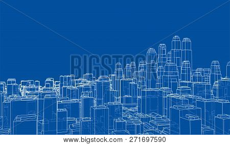 Wire-frame City, Blueprint Style. 3d Rendering. Architecture Design Background