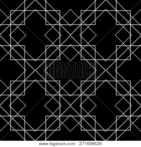 Tile Vector Pattern With White Ornament On Black Background