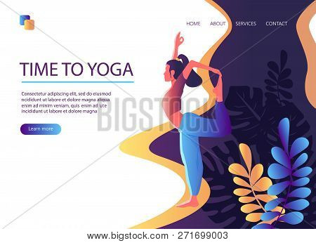 Web Page Template Of Yoga Studio. Time To Yoga. Modern Flat Design Concept Of Web Page Design For We