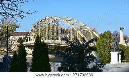 Bridge Over Raba River In Gyor In Hungary