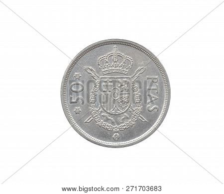 Reverse Of 50 Pesetas Coin Made By Spain That Shows Coat Of Arms