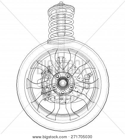 Car Suspension With Wheel Tire And Shock Absorber. 3d Illustration. Wire-frame Style