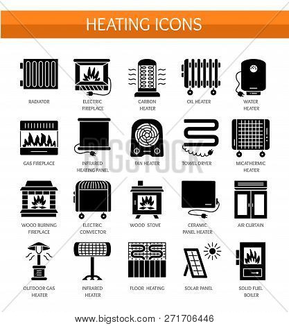 Vector Flat Icon Set With Radiator, Convector And Fireplace. Home Heating Equipment. Different Gas,