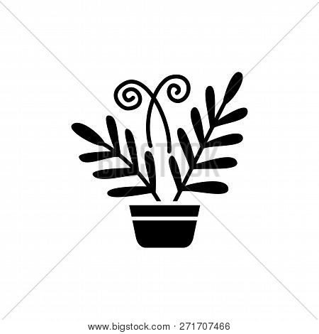 Black & White Vector Illustration Of Fern With Leaves In Pot. Decorative Home Plant In Container. Fl