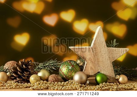 A Christmas decoration wooden star with glass balls
