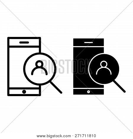 Smartphone And Magnifying Search Thin Line Icon. Search Contact On Smartphone Vector Illustration Is