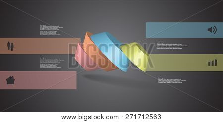 3D Illustration Infographic Template With Round Octagon Divided To Four Parts