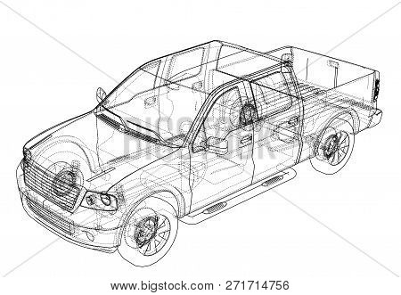 Car Suv Drawing Outline Or Blueprint. 3d Illustration