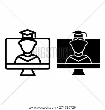 Online Educationa Line And Glyph Icon. Student On Monitor Vector Illustration Isolated On White. E-l