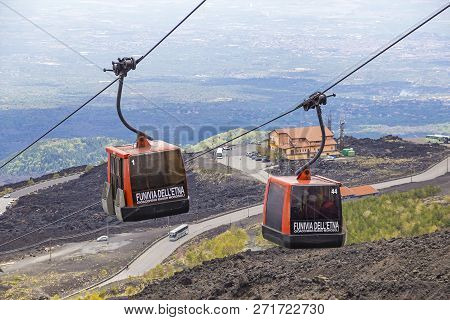 Sicily, Italy - May 7, 2018: Cable Car To Etna Volcano From Rifugio Sapienza