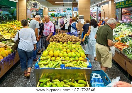Barcelona, Spain - May 17, 2018: Famous La Boqueria Market With Vegetables And Fruits May 17, 2018 I