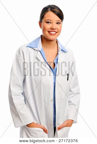 Confident female doctor in white coat, isolated on white