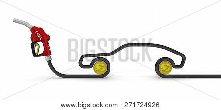 The Costs Of Car Fuel (british Pound Sterling). Car Fuel Nozzle, The Hose In The Form Of The Car Sym