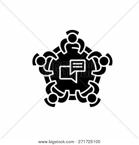Corporative Meeting Black Icon, Vector Sign On Isolated Background. Corporative Meeting Concept Symb