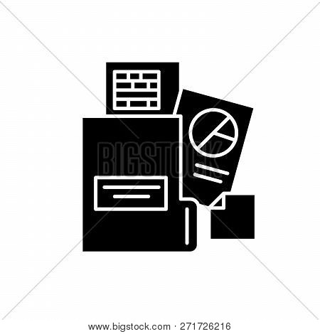 Financial Statement Black Icon, Vector Sign On Isolated Background. Financial Statement Concept Symb