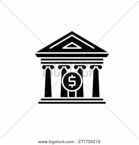 Financial Organization Black Icon, Vector Sign On Isolated Background. Financial Organization Concep