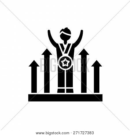 Business Competition Black Icon, Vector Sign On Isolated Background. Business Competition Concept Sy