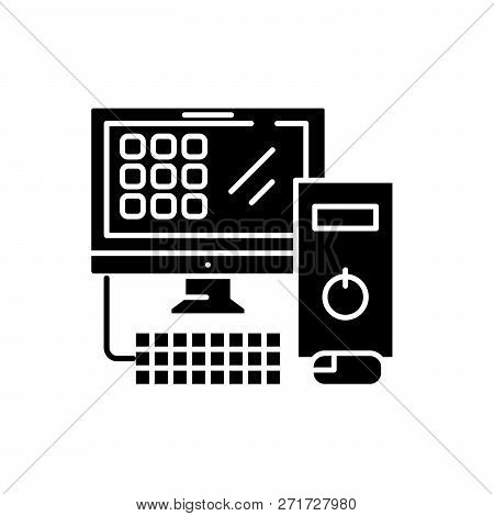 Computer Desktop Black Icon, Vector Sign On Isolated Background. Computer Desktop Concept Symbol, Il