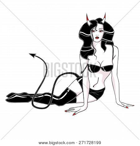 Woman Vamp In Black Leather Underwear And Boots, With Horns And Tail, Devil.