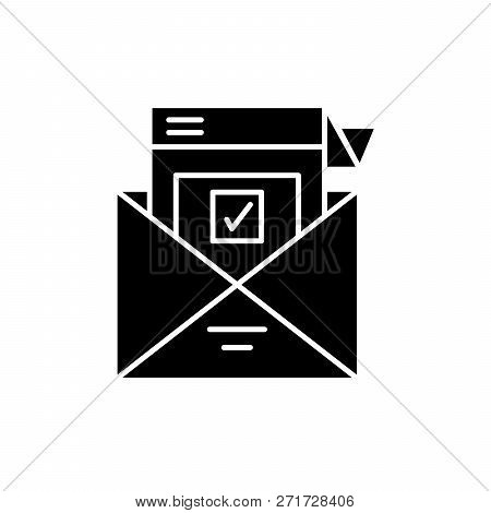 Survey Letter Black Icon, Vector Sign On Isolated Background. Survey Letter Concept Symbol, Illustra