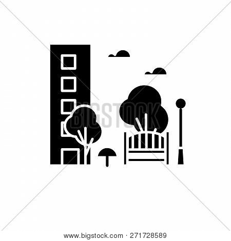 Recreation Park Black Icon, Vector Sign On Isolated Background. Recreation Park Concept Symbol, Illu