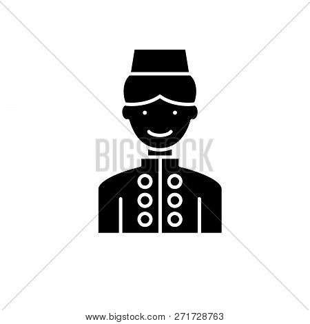 Hotel Staff Black Icon, Vector Sign On Isolated Background. Hotel Staff Concept Symbol, Illustration