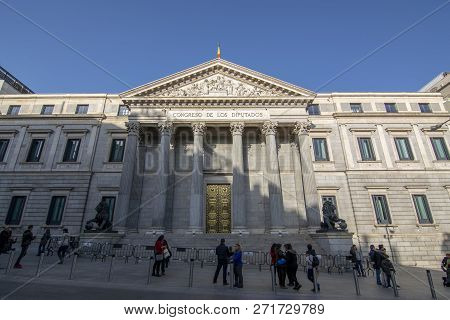 Madrid, Spain; December 2015:  Congress Of Deputies Of Spain Is The Lower House Of The Cortes Genera