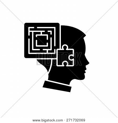 Problem Solving Black Icon, Vector Sign On Isolated Background. Problem Solving Concept Symbol, Illu