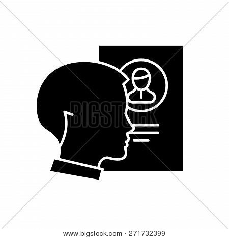 Staff Analysis Black Icon, Vector Sign On Isolated Background. Staff Analysis Concept Symbol, Illust