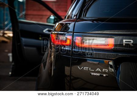 Moscow. Autumn 2018. The Land Rover Range Rover Velar In Black Color Compact Luxury Crossover Suv Pr