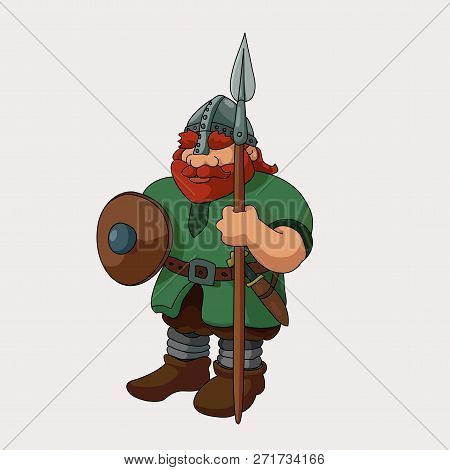 Funny Barbarian Viking Redhead With Spear Vector Illustration
