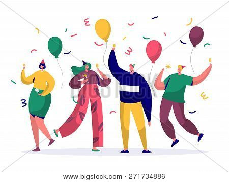Group Of Joyful People Celebrating New Year Or Birthday Party. Man And Woman Characters In Hats Havi