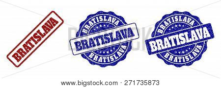 Bratislava Grunge Stamp Seals In Red And Blue Colors. Vector Bratislava Marks With Scratced Texture.