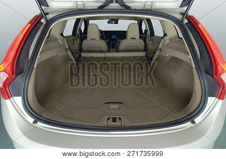 Car Trunk With Rear Seats Folded Of The Station Wagon