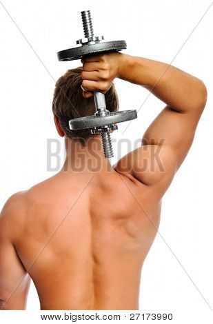 Fit muscular man uses his dumbbell to work his triceps poster