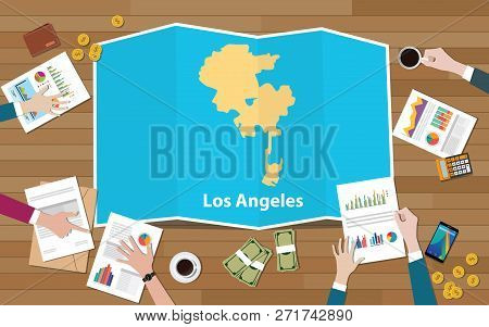 Los Angeles Usa United States America City Region Economy Growth With Team Discuss On Fold Maps View