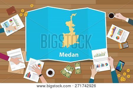 Medan Indonesia City Region Economy Growth With Team Discuss On Fold Maps View From Top Vector Illus