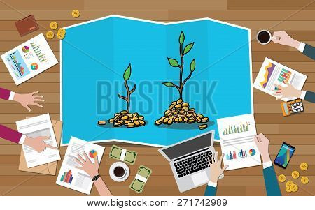 Investment Tree Team Discuss Invest Investment Business On Top Of Wood Wooden Table With Graph And C