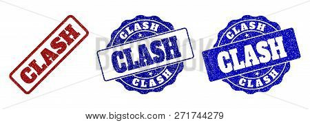 Clash Grunge Stamp Seals In Red And Blue Colors. Vector Clash Labels With Grainy Surface. Graphic El
